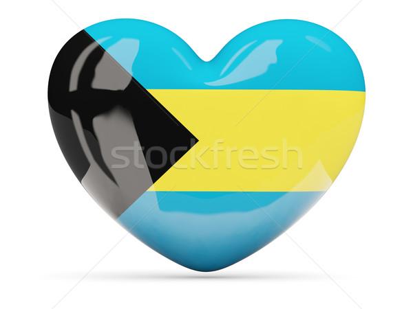 Coração ícone bandeira Bahamas isolado Foto stock © MikhailMishchenko