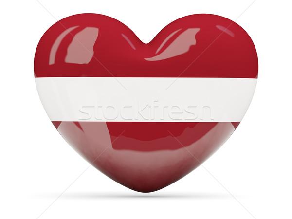Szív alakú ikon zászló Lettország izolált Stock fotó © MikhailMishchenko