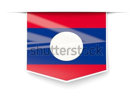 Placu ikona banderą Laos metal ramki Zdjęcia stock © MikhailMishchenko