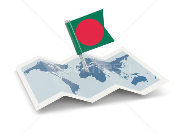 Térkép zászló Banglades izolált fehér Stock fotó © MikhailMishchenko