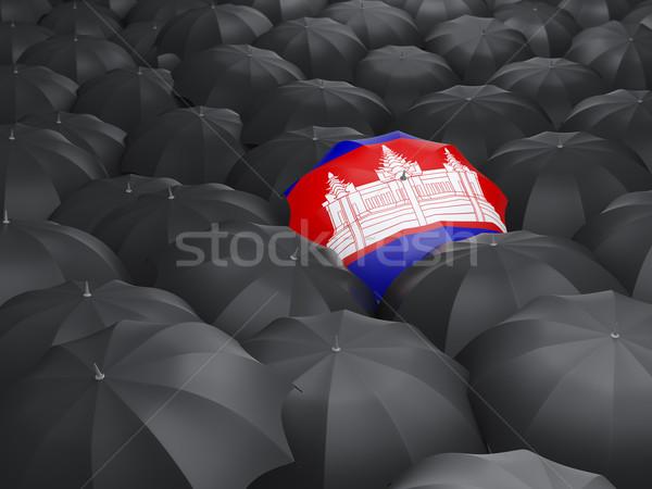 Paraplu vlag Cambodja zwarte parasols regen Stockfoto © MikhailMishchenko