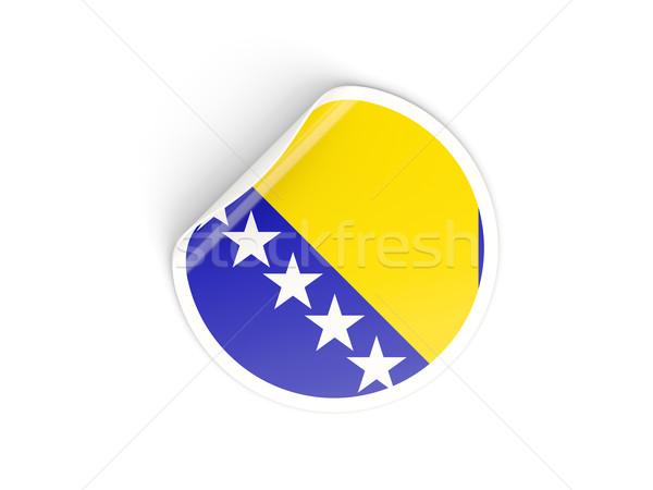 Etiqueta bandera Bosnia Herzegovina aislado blanco viaje Foto stock © MikhailMishchenko