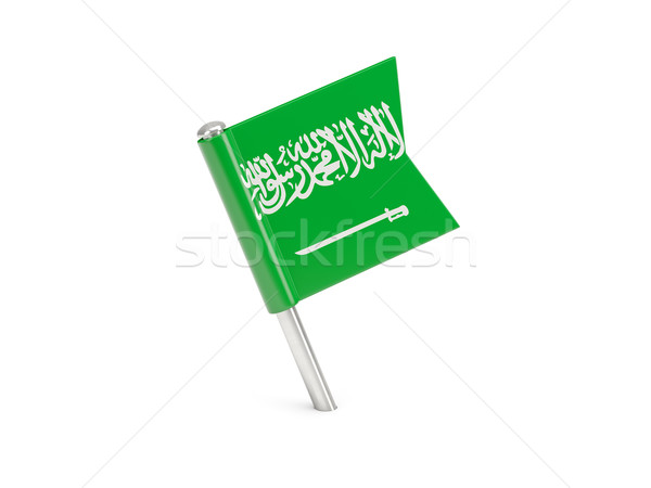 Bayrak pin Suudi Arabistan yalıtılmış beyaz Stok fotoğraf © MikhailMishchenko