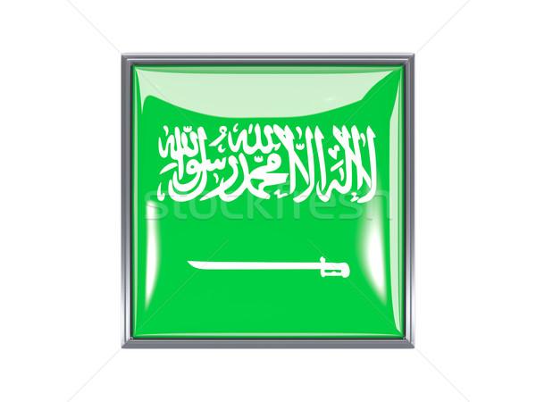 Praça ícone bandeira Arábia Saudita metal quadro Foto stock © MikhailMishchenko