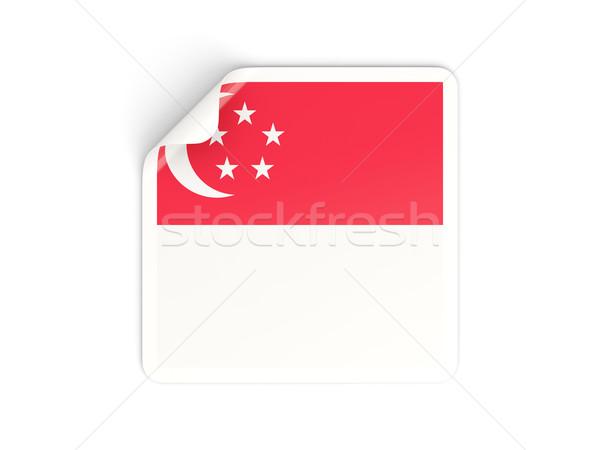 Tér matrica zászló Szingapúr izolált fehér Stock fotó © MikhailMishchenko