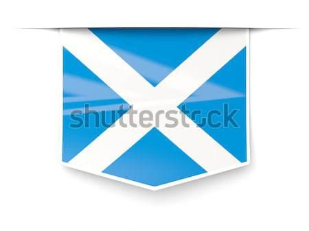 Banderą etykiety Szkocji odizolowany biały świat Zdjęcia stock © MikhailMishchenko
