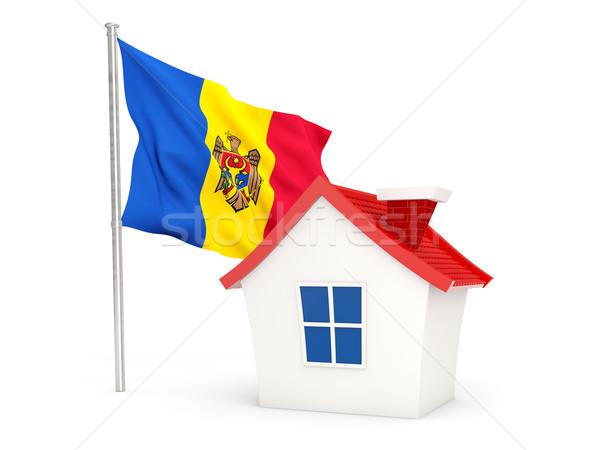 Ház zászló Moldova izolált fehér otthon Stock fotó © MikhailMishchenko