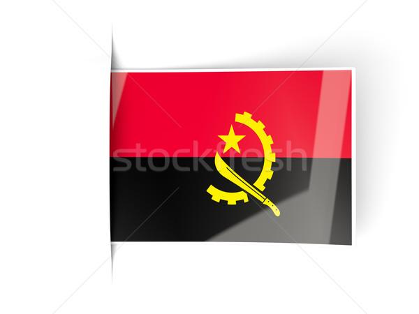 квадратный Label флаг Ангола изолированный белый Сток-фото © MikhailMishchenko