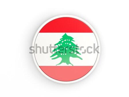 Adesivo bandeira Líbano isolado branco viajar Foto stock © MikhailMishchenko