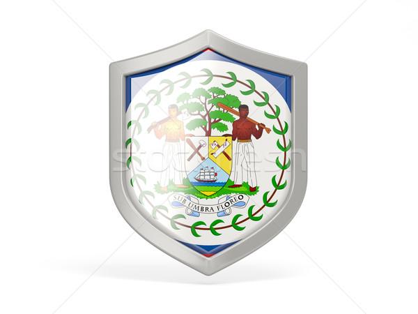 Pajzs ikon zászló Belize izolált fehér Stock fotó © MikhailMishchenko