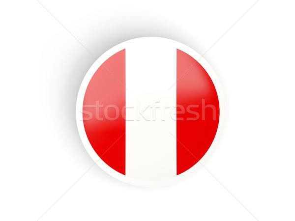 Etiqueta bandera Perú aislado blanco viaje Foto stock © MikhailMishchenko