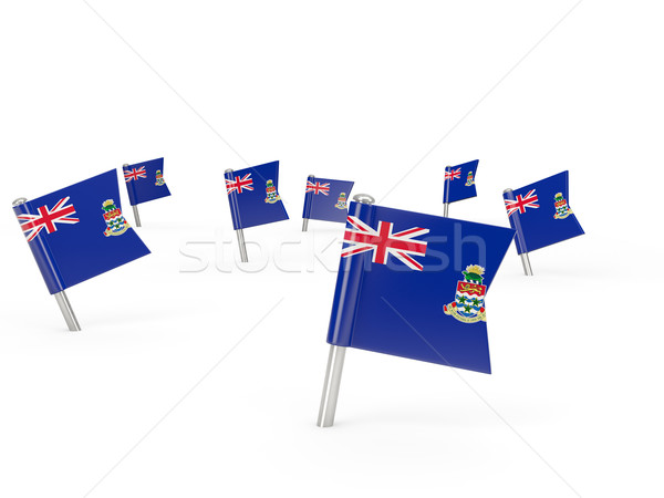 Square pins with flag of cayman islands Stock photo © MikhailMishchenko