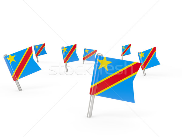 Square pins with flag of democratic republic of the congo Stock photo © MikhailMishchenko
