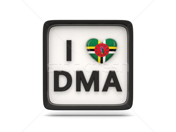 Liefde Dominica teken geïsoleerd witte vlag Stockfoto © MikhailMishchenko