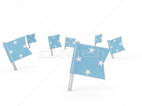 Praça bandeira Micronésia isolado branco país Foto stock © MikhailMishchenko