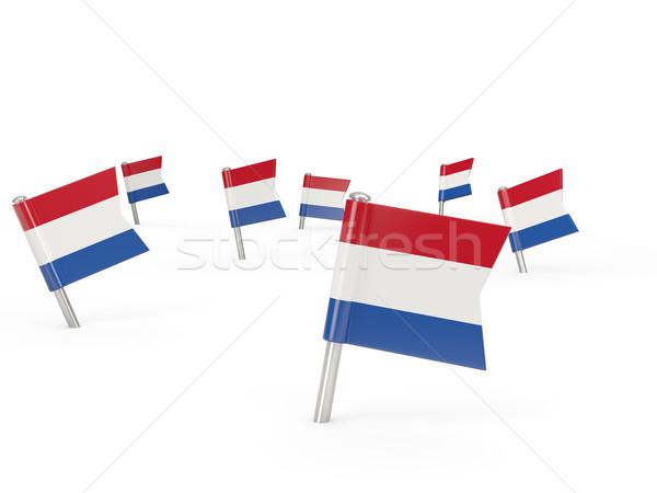Platz Flagge Niederlande isoliert weiß Land Stock foto © MikhailMishchenko
