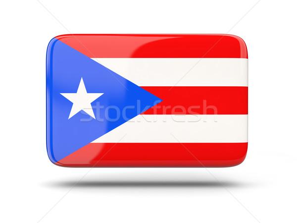 Vierkante icon vlag Puerto Rico schaduw teken Stockfoto © MikhailMishchenko
