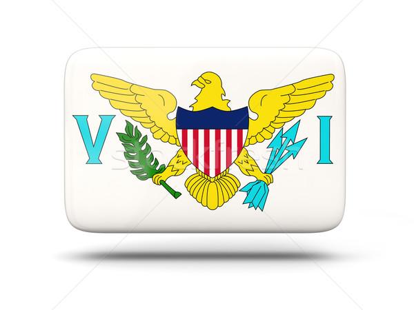 Vierkante icon vlag Virgin Islands schaduw teken Stockfoto © MikhailMishchenko