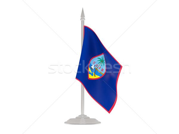 Bandera Guam asta de bandera 3d aislado blanco Foto stock © MikhailMishchenko