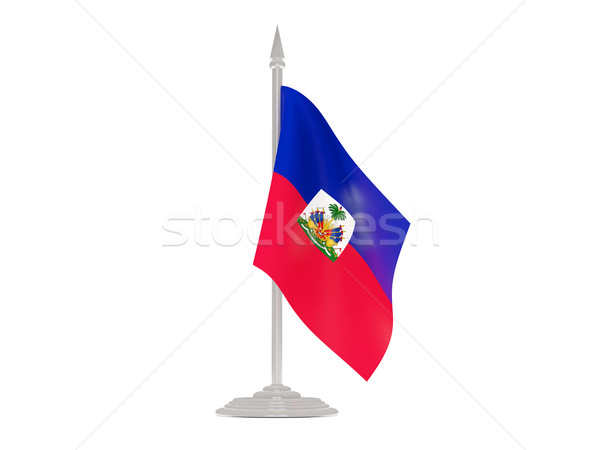 Bandera Haití asta de bandera 3d aislado blanco Foto stock © MikhailMishchenko