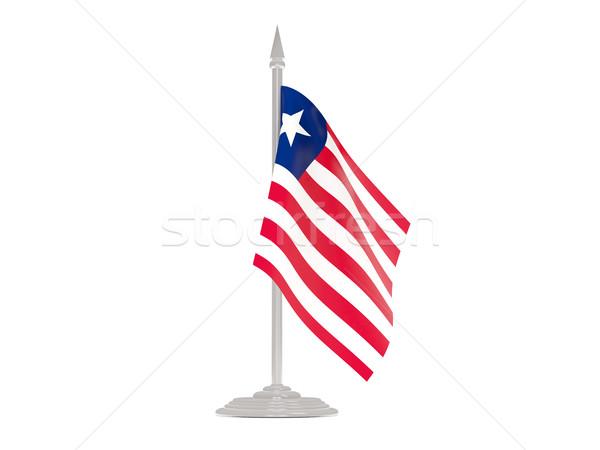 флаг Либерия флагшток 3d визуализации изолированный белый Сток-фото © MikhailMishchenko