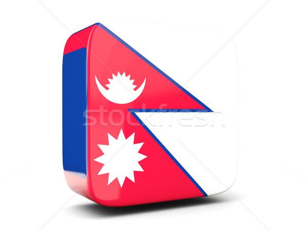 Square icon with flag of nepal square. 3D illustration Stock photo © MikhailMishchenko