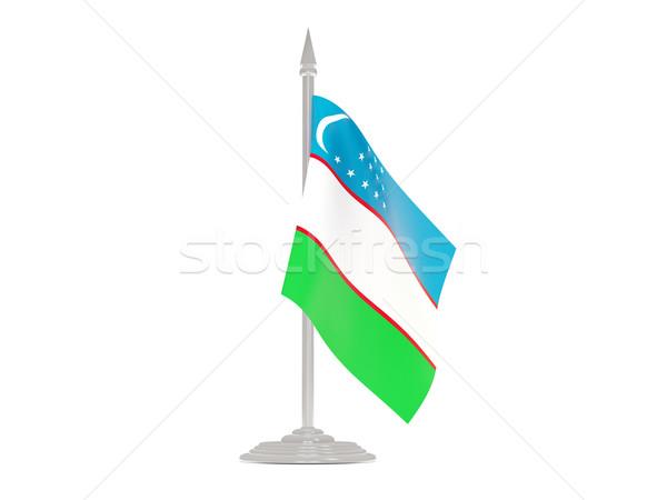 Bandera Uzbekistán asta de bandera 3d aislado blanco Foto stock © MikhailMishchenko