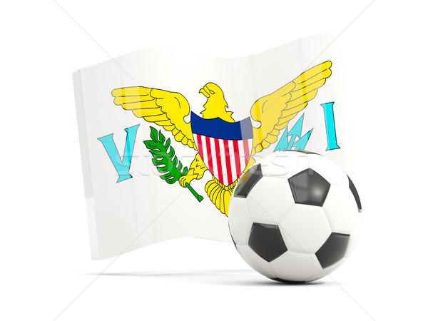 Football with waving flag of virgin islands us isolated on white Stock photo © MikhailMishchenko