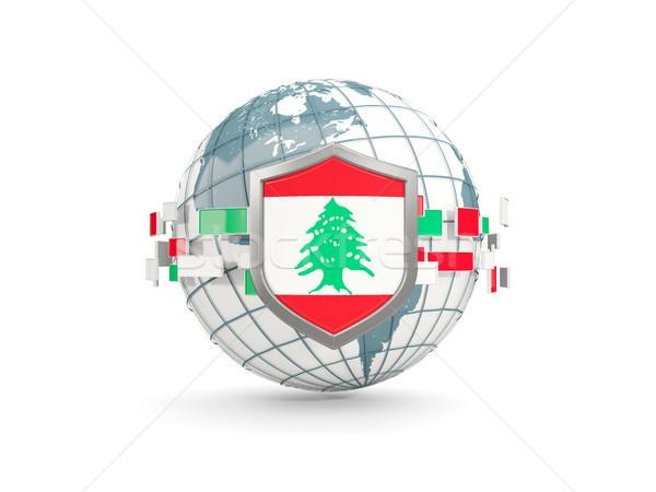 Földgömb pajzs zászló Libanon izolált fehér Stock fotó © MikhailMishchenko