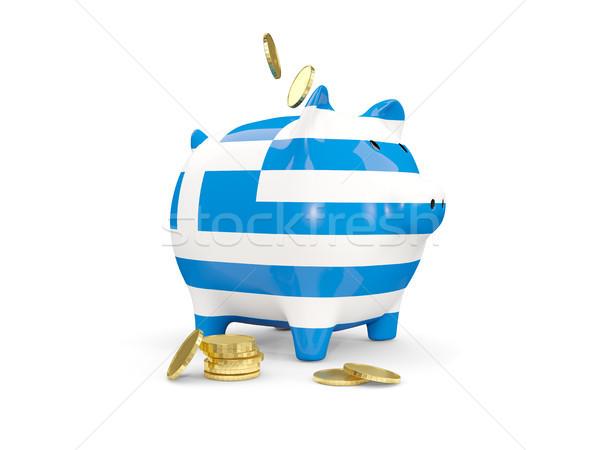 Grasso salvadanaio Grecia soldi isolato bianco Foto d'archivio © MikhailMishchenko