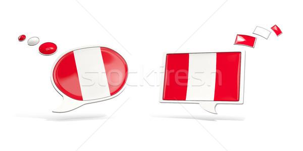 Iki sohbet simgeler bayrak Peru kare Stok fotoğraf © MikhailMishchenko