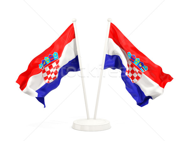 Iki bayraklar Hırvatistan yalıtılmış beyaz Stok fotoğraf © MikhailMishchenko