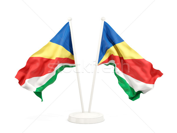 Kettő integet zászlók Seychelle-szigetek izolált fehér Stock fotó © MikhailMishchenko