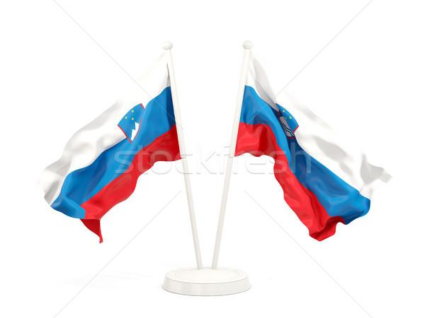 Due bandiere Slovenia isolato bianco Foto d'archivio © MikhailMishchenko