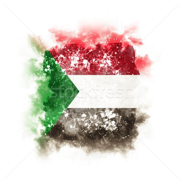 Placu grunge banderą Sudan 3d ilustracji retro Zdjęcia stock © MikhailMishchenko