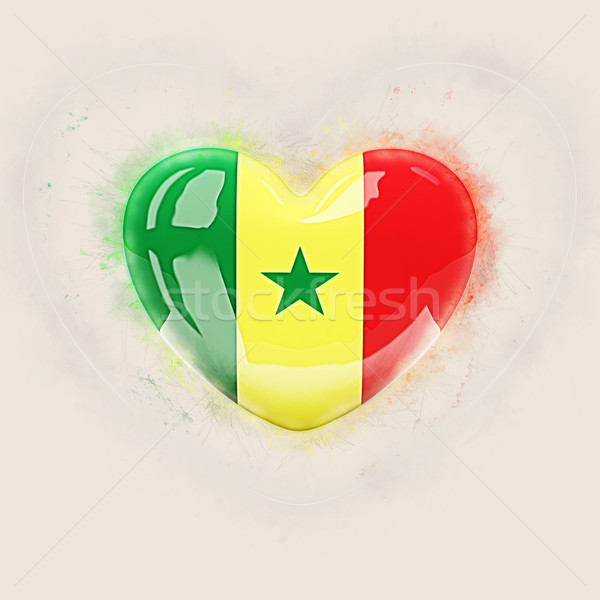 Heart with flag of senegal Stock photo © MikhailMishchenko