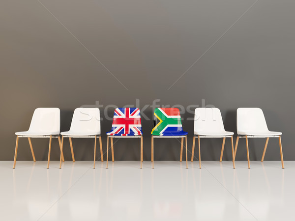 Chairs with flag of United Kingdom and south africa Stock photo © MikhailMishchenko