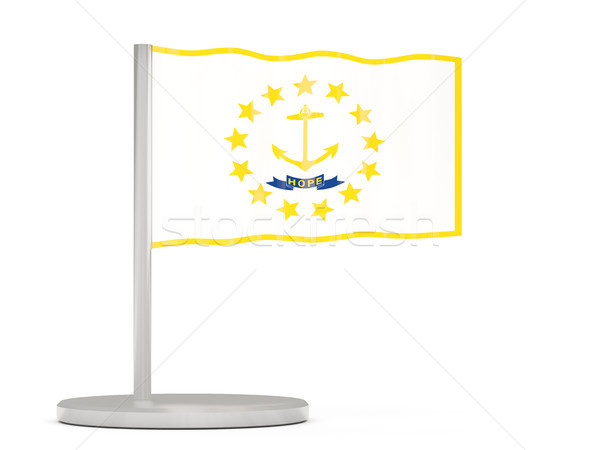 Flag pin with flag of rhode island. United states local flags Stock photo © MikhailMishchenko