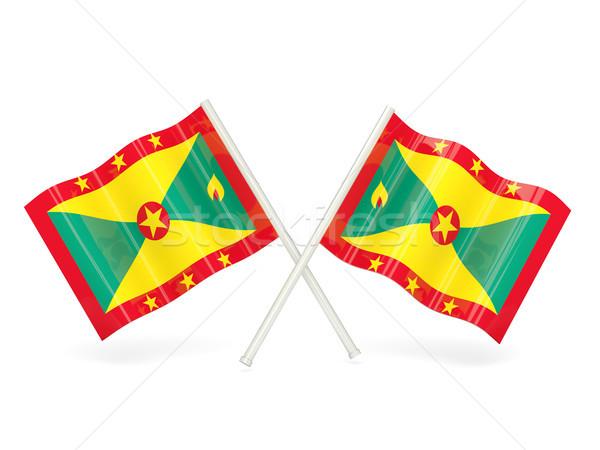 Zászló Grenada kettő hullámos zászlók izolált Stock fotó © MikhailMishchenko