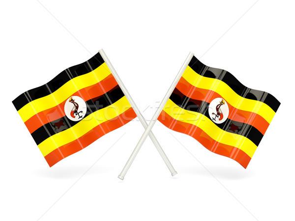 Bayrak Uganda iki dalgalı bayraklar yalıtılmış Stok fotoğraf © MikhailMishchenko