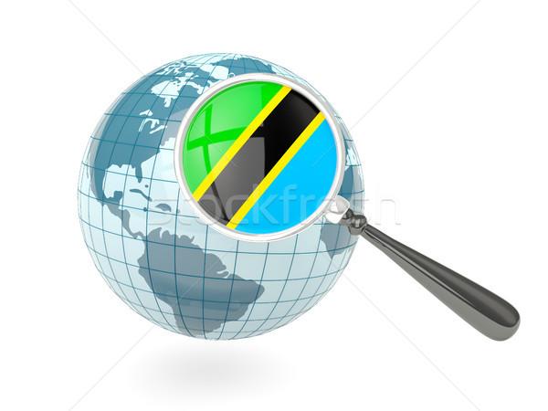 Vergrößert Flagge Tansania blau Welt isoliert Stock foto © MikhailMishchenko