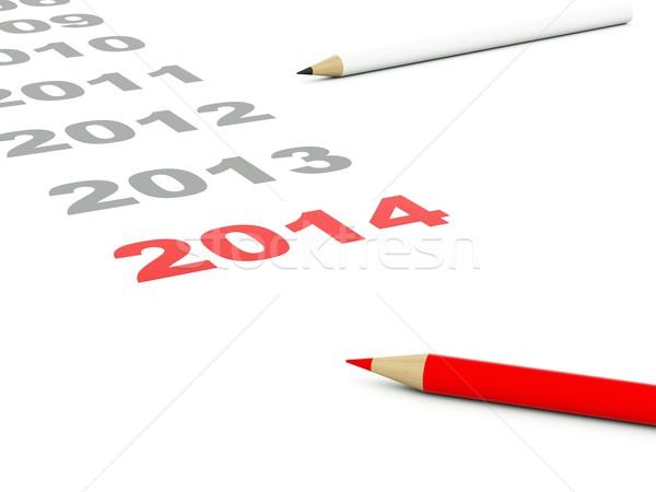 2014 nowy rok podpisania ołówki odizolowany biały Zdjęcia stock © MikhailMishchenko