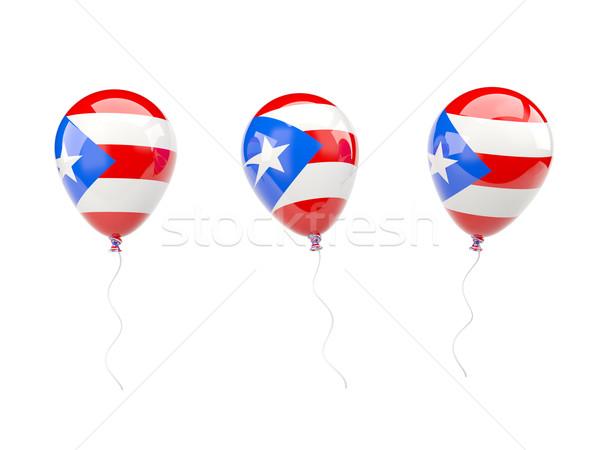 Stockfoto: Lucht · ballonnen · vlag · Puerto · Rico · geïsoleerd · witte