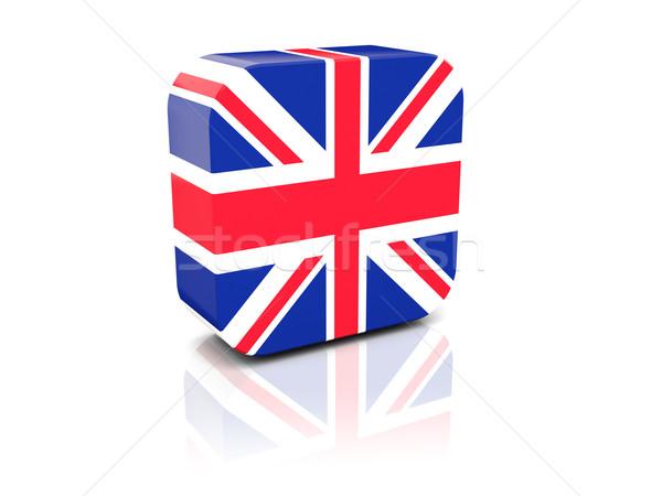 Piazza icona bandiera Regno Unito riflessione bianco Foto d'archivio © MikhailMishchenko
