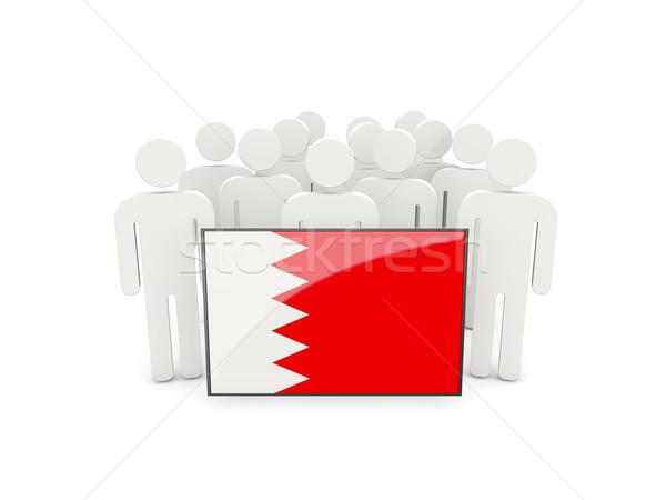 Pessoas bandeira Bahrein isolado branco multidão Foto stock © MikhailMishchenko