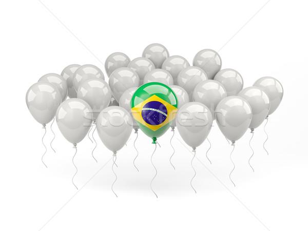 空気 風船 フラグ ブラジル 孤立した 白 ストックフォト © MikhailMishchenko