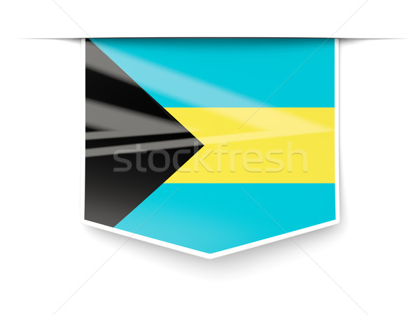 Praça etiqueta bandeira Bahamas isolado branco Foto stock © MikhailMishchenko