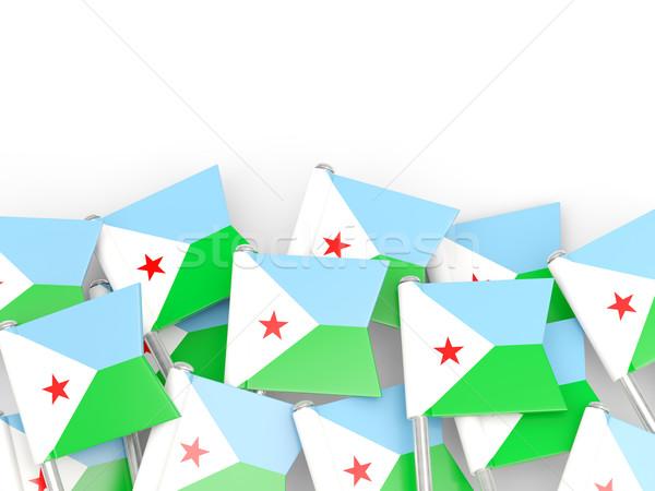 Banderą pin Dżibuti odizolowany biały tle Zdjęcia stock © MikhailMishchenko