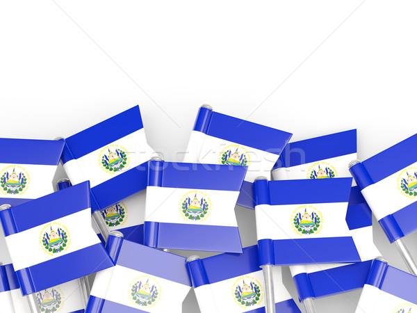 Bandeira pin El Salvador isolado branco mundo Foto stock © MikhailMishchenko