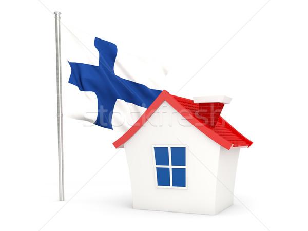Casa bandeira Finlândia isolado branco casa Foto stock © MikhailMishchenko
